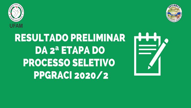 Resultado Preliminar Segunda Etapa PPGRACI 2020/2