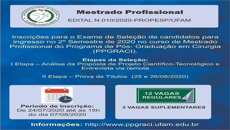 PROCESSO SELETIVO PPGRACI 2020/2
